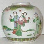 150 yr old Antique Chinese Porcelain famille verte Ginger Jar