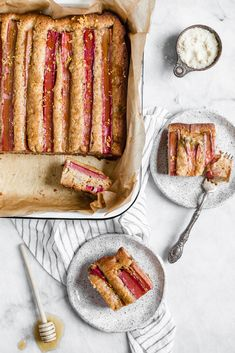 Rhubarb Almond Honey Cake
