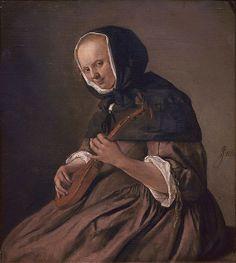 Woman playing the sistrum, Jan Steen, 1662