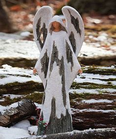 This would make a great yard ornament. Take a look at this Frosted Forest Angel Figurine by Evergreen on #zulily today!