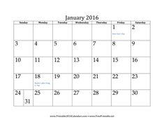 January 2016 Calendar Calendar