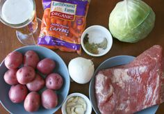 Crockpot Corned Beef and Cabbage ingredients placed on table Corned Beef Seasoning, Corn Beef And Cabbage, Cabbage Recipes, Homemade Corned Beef, Family Fresh Meals, Slow Cooker Recipes, Crockpot Recipes, Crock Pot Cooking, St Pattys