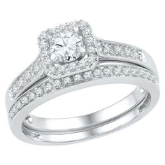 1/2 CT. T.W. Round Diamond Prong Set Bridal Ring in 10K White Gold