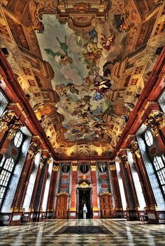 Stift Melk (Austria). 'The twin-spired monastery church is a baroque tour de force, swirling with prancing angels, gilt flourishes and Johann Michael Rottmayr's ceiling paintings. Such opulence continues in the library and marble hall, both embellished with illusionary trompe l'oeil tiers by Paul Troger.' http://www.lonelyplanet.com/austria/vienna/sights/other/stift-melk