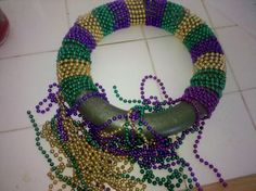 mardi gras bead crafts ideas | DIY mardi gras wreath with leftover beads