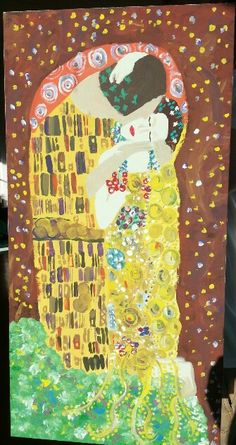 This is the painting I created based on Gustaf Klimpt's famous painting, The Kiss