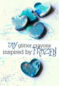 recycled crayon favors for frozen or winter  themed  party
