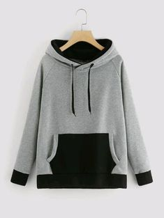Raglan Sleeve Contrast Kangaroo Pocket Hoodie - Raglan Sleeve Contrast Kangaroo Pocket HoodieFor Women-romwe Imágenes efectivas que le proporcionam - Teen Fashion Outfits, Mode Outfits, Casual Outfits, Trendy Hoodies, Cool Hoodies, Shirt Jacket, Sweater Hoodie, Pullover, Sweat Cool