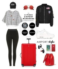"""Casually Traveling"" by rnett51 ❤ liked on Polyvore featuring Topshop, NIKE, Rimowa, Alexander Wang and Tumi"