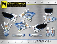 White and blue full graphics kit for Yamaha YZ 250 including white number plate backgrounds Yamaha Yz 125, Custom Design, Decals, Graphics, Motorbikes, Bespoke Design, Tags, Charts, Graphic Design