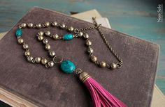 Hot pink tassel necklace long beaded boho necklaces by NessSolo