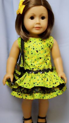 American Girl Doll Clothe Chartreuse patterned ruffled Dress with Tote