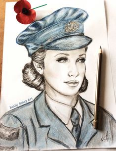 Remembrance - wartime waf girl by Kathy Siney