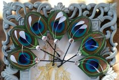 4 Bridesmaid Gifts  Hair Pieces Peacock  Peacock by MaddieLus, $39.50