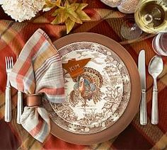 Pottery Barn Traditional Turkey Dinner Plate, Set of 4 Thanksgiving Dinner Plates, Thanksgiving Table Settings, Christmas Table Settings, Thanksgiving Decorations, Thanksgiving Blessings, Thanksgiving Tablescapes, Thanksgiving Ideas, Holiday Ideas, Table Decorations
