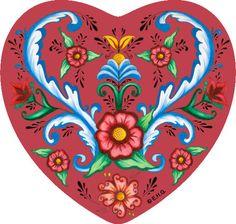 Ceramic Heart Tile Magnet: Red Rosemaling Hearts