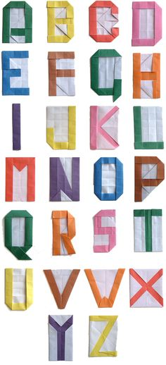 Origami Alphabet with Instructions from the Origami Club, Origami Alphabet, Origami, Alphabet, crafts, DIY, ABC's, learning, paper, paper crafts