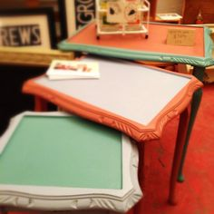 Upcycled Nest of Tables - Coffee tables - Painted in Annie Sloan Chalk Paint. $90.00, via Etsy.