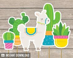 Llama Party Printables to decorate a birthday party, baby shower or themed celebration! Party Kit, Party Packs, Diy Party, Diy Cake Topper, Cake Toppers, Llamas, Mexican Fiesta Party, Cactus Cake, Llama Birthday