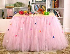 Tulle Tutu Table Skirts Party Wedding Table Skirt Skirting Ribbon Pearl Flower #Handmade #BabyShowerPartyWeddingetc