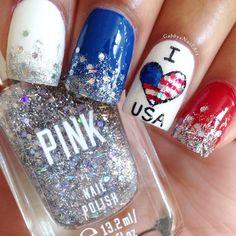 Patriotic Nails With Glitter. #IloveUSA