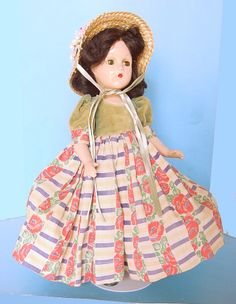 """1930s MADAME ALEXANDER SCARLETT O'HARA 14"""" COMPOSITION DOLL w TAGGED OUTFIT"""