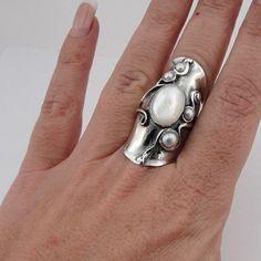Grande dimensione artigianale argento perla anello di hadarjewelry
