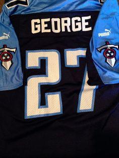 Vintage Puma Tennessee Titans Eddie George 27 XL Jersey Football Blue Adult Uni #puma #TennesseeTitans Nashville, TN Classic