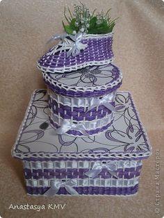 Декор предметов Поделка изделие 8 марта Декупаж Плетение Плетенки из бумаги  много фото  Салфетки Трубочки бумажные фото 25