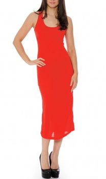 MAXI DRESS. Sleeveless with Mesh Upper Back! Red.