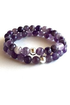 Genuine Amethyst Bracelets, Purple Stone Stack Bracelets, Beaded Gemstone Jewelry