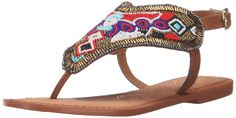 Naughty Monkey Women's Moroccan Mania Dress Sandal, Multi, 8 M US. Flat thong sandal topped with elaborately beaded panel. Adjustable backstrap with buckle.