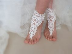 bridal anklet ivory Beach wedding barefoot sandals by WEDDINGHome, $30.00