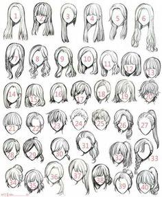 Ideas for hair art reference anime girls - Manga Hair - ideas anime Pencil Art Drawings, Art Drawings Sketches, Cartoon Drawings, Easy Hair Drawings, Girl Drawings, Girl Hair Drawing, Drawing Eyes, Anime Hair Drawing, Hair Styles Drawing