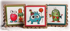 Birthday Monsters 3x3 notecards by Jen Shults #Birthday