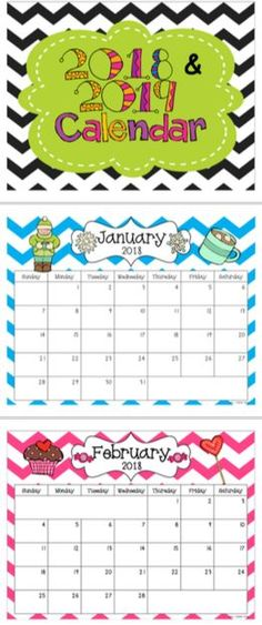 FREE- Great to keep in your teacher notebook, on your desk, use as a snack calendar, or hang in your classroom! These are bright-colored, chevron, monthly calendars. The calendar set includes 24 months: January 2018-December 2019