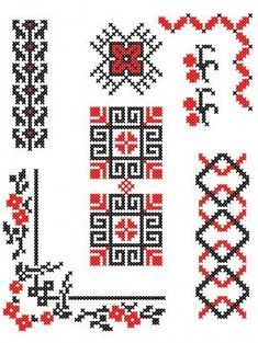 Simple Cross Stitch, Cross Stitch Borders, Cross Stitch Designs, Cross Stitching, Cross Stitch Patterns, Blackwork Embroidery, Folk Embroidery, Embroidery Patterns Free, Cross Stitch Embroidery