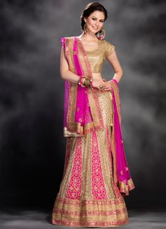 ttp://www.sareesaga.com/index.php?route=product/product&product_id=18932 Work	:	Embroidered Resham Work	 Style	:	A - Line Lehenga Shipping Time	:	10 to 12 Days	 Occasion	:	Party Wedding Fabric	:	Net	 Colour	:	Beige Hot Pink For Inquiry Or Any Query Related To Product,  Contact :- +91 9825192886