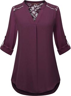 Gaharu Womens Blouse for Legging Petites Dressy Shirt for Work Tab Sleeve Split Neck Blouse Relaxed Fit Curved Hem Burgundy Tunic Top Daily Wear Dark Red,XXL 60 Fashion, Women's Fashion Dresses, Blouse Styles, Blouse Designs, Shirts For Leggings, Kurta Neck Design, Dress Clothes For Women, Moda Plus Size, Indian Designer Outfits