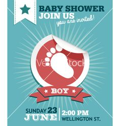 Baby boy shower invitation card vector  - by Mictoon on VectorStock®