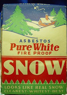 Image of a vintage box of asbestos snow decoration. Directions on the box say to sprinkle the snow decoration liberally on window sills and on Christmas tree limbs as it will cling to many surfaces.