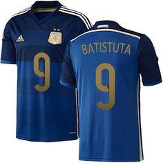 #9 2014 Argentina Gabriel Batistuta Away World Cup Soccer Jersey
