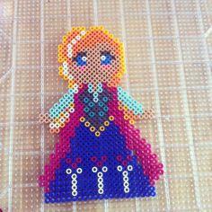 Anna from Frozen perler beads by babybunny3 on deviantART