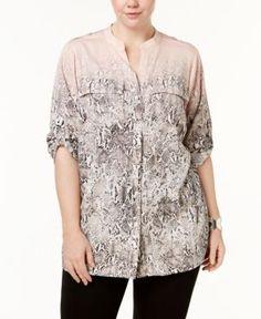 Calvin Klein Plus Size Snake-Print Utility Shirt - Pink 2X