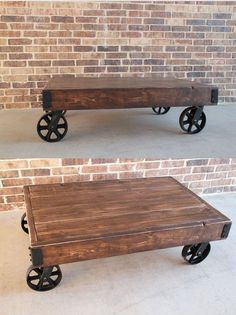 Unique custom made vintage-inspired industrial cart coffee table. Its rustic design resembles a cart from an old factory, complete with rustic wood