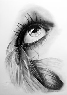 """Feathered eye""  by =witchi1976 -   Traditional Art / Drawings / Portraits & Figures"
