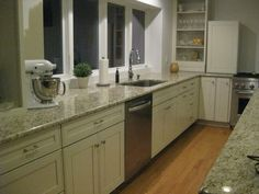 white cabinets, granite, floor.    Kraftmaid painted cabinets - Kitchens Forum - GardenWeb