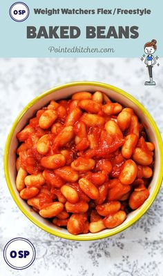 These Zero Point Baked Beans are tasty, filling and cheap to make. A must if you are following Weight Watchers Flex / Freestyle program   pointedkitchen.com #ww #weightwatchers #smartpoints #flex #freestyle #wwlunches #wwflex #wwfreestyle