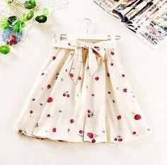 Cream chiffon skirt with strawberry, cherry and blackberry print, cream lining and elegant bow.    One Size  Length: 47cm  Waist: 63cm-77cm