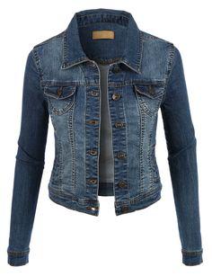 LE3NO Womens Classic Vintage Long Sleeve Denim Jean jacket